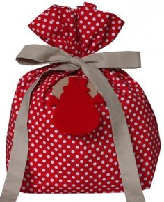Polka Dot Punch fabric gift bag