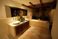 Sanur villa rental - Master bathroom with terrazzo and natural stone