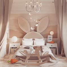 A bedroom design for a special somebunny 😉🐰Designed by Cool Kids Bedrooms, Kids Bedroom Designs, Kids Room Design, Baby Bedroom, Girls Bedroom, Bedroom Decor, Bedroom Furniture, Master Bedroom, Bunny Room