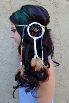 Beautiful Rainbow Dreamcatcher Feather Headband With Natural Feathers And White Beads, On Chained Rainbow Cotton String. Adjustable To Every Head Size.Ready To