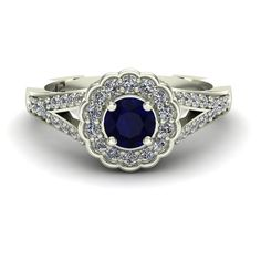 Blue Sapphire Ring Diamond Scallop Halo by CharlesBabbDesigns