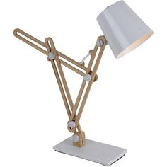 Add some personality and style to your home by using this Unique Modern Style Table Lamp with White Iron Shade and Base. It contains an iron trumpet shape shad… Wooden Table Lamps, White Table Lamp, Cool Lighting, Modern Lighting, Modern Lamps, O Gas, Ideias Diy, Metal Projects, Vintage Lamps