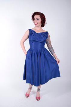 1950s Vintage Dress Blue Taffeta Shelf Bust 50s by stutterinmama, $98.00