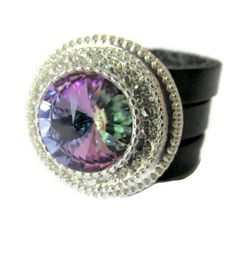 Leather triple band ring sparkly swarovski elements ring vitrail fwb crystal ring - pinned by pin4etsy.com