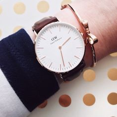 Rose gold love - Daniel Wellington watch and Kate Spade bow bracelet