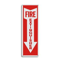"Metal Fire Extinguisher Arrow Sign - 4"" x 12"". Visit Fire Supply Depot for fire extinguisher signs in plastic, metal and adhesive vinyl."