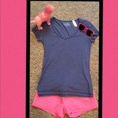 VS LOUNGE TEE NWT VICTORIA'S SECRET V-NECK SHIRT. ONE SIZE Victoria's Secret Tops Tees - Short Sleeve