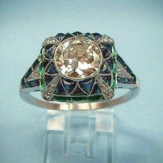 Art Deco Diamond, Sapphire & Emerald ring