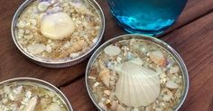 The coolest DIY seashell coasters, made from jar lids and pour-on resin!     Learn how to Make Seashell Coasters with Jar Lids & Resin  at R...