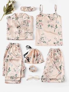 Shop Floral Print Satin Cami PJ Set With Shirt online. SheIn offers Floral Print Satin Cami PJ Set With Shirt & more to fit your fashionable needs. Cute Sleepwear, Sleepwear Sets, Lingerie Sleepwear, Loungewear, Nightwear, Sexy Lingerie, Pijama Satin, Satin Cami, Satin Pajamas