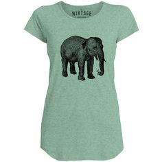 Mintage Elephant with a Flower Womens Capped Sleeve T-Shirt