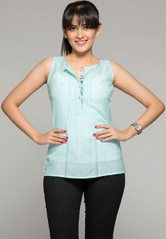 ITI Sleeve Less Solid Blue Top RS.899/-