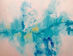 心の深層にある心象風景を描きました キャンバスにアクリル絵具で描きました。  ほんのりピンクに見える白色と、多彩な青色の混ざり合う部分がとても気に入っています。  キャンバスなので、額なしで飾ることができます。