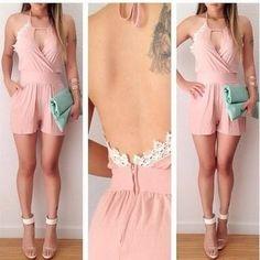 jumpsuit palazzo dress rosa pastel encaje short escote