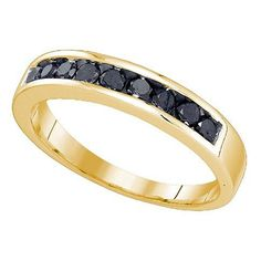 SIZE 7 0.51 Carat (ctw) 10K Yellow Gold Round Cut Black Diamond Men's Fashion Wedding Band 1/2 CT. Crafted in 10K Yellow-gold. Diamond Color / Clarity : Black / Opaque. Diamond Weight : 0.51 ct tw. Weights approximately 2.31 grams. Gemstone : Diamond.