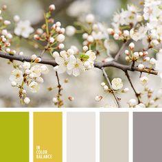 баклажановый и желтый, бежевый, желтый, коричневый, кремово-серый, кремовый, оттенки весны, палитра для весны, салатовый, серый, теплый салатовый, теплый серый, цвета весны, цвета весны 2016, цветовая палитра для весны.