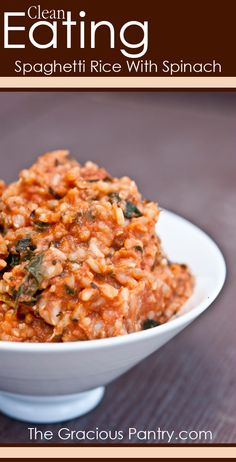 Clean Eating Spaghetti Rice With Spinach. #CleanEatingRecipes #CleanEating #EatClean