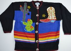Western Large Embellished Cardigan Sweater Cowboy Boot Star Beads Cactus Black. Made by P'Galli Designs