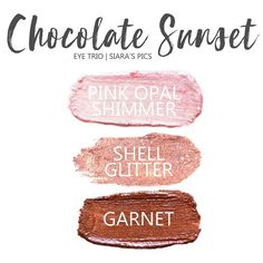 Chocolate Sunset Eye Trio uses three SeneGence ShadowSense : LE Shell Shimmer, Pink Opal Shimmer & Garnet Shimmer. These creme to powder eyeshadows will last ALL DAY on your eye. #shadowsense #trio #shadowsensetrio #eyeshadow #cocoa