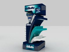 Gillette Stand by Mohamed Raouf, via Behance Pos Display, Display Design, Booth Design, Display Boards, Banner Design, Pos Design, Stand Design, Retail Design, Cardboard Display
