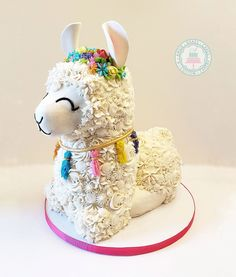 Fondant free except for llama ears and gold band of necklace Animal Birthday Cakes, Llama Birthday, Themed Birthday Cakes, Birthday Cake Girls, 9th Birthday, Birthday Ideas, Buttercream Decorating, Buttercream Cake, Fondant Cakes