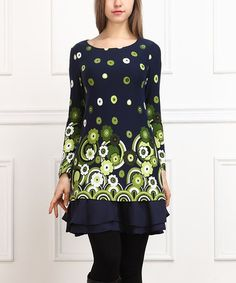 Another great find on #zulily! Navy & Green Floral Ruffle Tunic #zulilyfinds