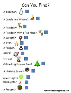 Holiday Light Scavenger Hunt with Pictures (for younger children who aren't reading yet)