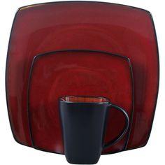 Soho Lounge Square 16-Piece Dinnerware Set, Red