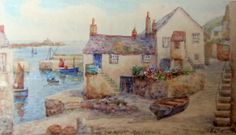 Old Wharf Mousehole with St. Michael's Mount, watercolour, signed T.H. Victor, c1950. Framed. http://www.ranchiartandbooks.co.uk/ourshop/prod_3523961-Old-Wharf-Mousehole-with-St-Michaels-Mount-watercolour-signed-TH-Victor-c1950-Framed.html