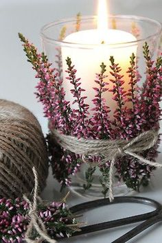 Lavender and Twine tied Candle vases ...try bark. In autumn colors