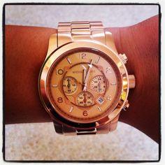 michael kors oversized rose gold runway watch. want.