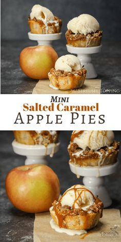 Give your mouth a celebration! Learn how to make these easy Homemade Mini Salted Caramel Apple Pie Bites recipe from scratch.The perfect blend of Fuji apples, spices, salted caramel ice cream topping and cinnamon streusel crumb topping! Featuring the perf Mini Pie Recipes, Muffin Tin Recipes, Apple Recipes, Baking Recipes, Dessert Recipes, Muffin Tins, Baking Desserts, Baking Ideas, Apple Pie Muffins
