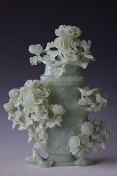 Chinese Carved Celadon Jade Lidded Vase
