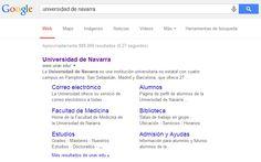 En este pin se puede ver que si buscas a la #UniversidadDeNavarra en #google aparecen 889.000 resultados. El primero de ellos es la #weboficial de la #UniversidadDeNavarra. Además, dentro de ese primer resultado, aparecen algunos apartados más, lo cual facilita el #acceso.