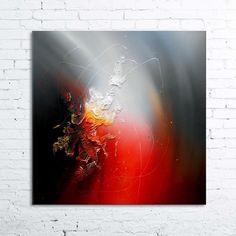 Réminiscence - tableau abstrait moderne contemporain peinture acrylique en relief noir gris rouge blanc doré Beau format