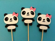 12 panda with bows cupcake toppers, girly panda bear food picks, baby girl shower cupcake toppers via Etsy