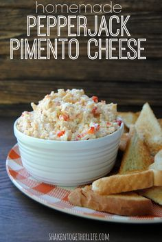 Pepperjack Pimento Cheese Homemade pepperjack pimento cheese - best served with toasted triangles of good ol' fashioned white bread!Homemade pepperjack pimento cheese - best served with toasted triangles of good ol' fashioned white bread! Dip Recipes, Low Carb Recipes, Appetizer Recipes, Snack Recipes, Cooking Recipes, Dinner Recipes, Appetizer Ideas, Cooking Videos, Brunch Recipes