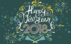 Télécharger fonds d'écran 4k, bonne et Heureuse Année 2018, de l'art, de Noël 2018, la Nouvelle Année 2018, fond bleu, noël, Noël