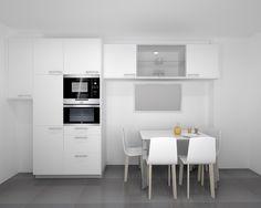 Cocina Santos Modelo Ariane Estratificado Blanco Encimera Granito Warwick Cooking, Kitchen, Table, Room, Furniture, Home Decor, Granite, Small Kitchens, Mesas