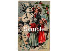 Vintage Christmas Postcard Children Snowman 1910s by VintageBarrel, $6.99