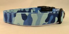 Awesome Light Blue and Dark Blue Camo Dog Collar by Maltipaws, $13.25
