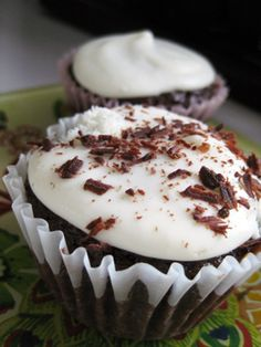 Guinness Cupcakes with Chocolate Garnish