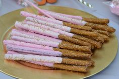 Decorated pretzels at a pink and gold birthday party! See more party planning ideas at CatchMyParty.com!