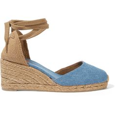 Castañer Carina denim wedge espadrilles ($110) ❤ liked on Polyvore featuring shoes, sandals, blue, blue shoes, blue wedge shoes, blue espadrilles, summer shoes and summer sandals