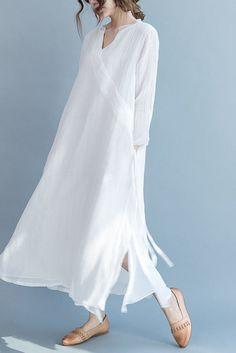 White Silk Linen Long Summer Dresses V-Neck Women Clothing Long Summer Dresses, Dress Summer, Summer Clothes, Spring Summer, Travel Dress, Silk Dress, Flowy Gown, Wrap Dress, Cotton Dresses
