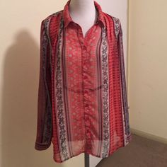Free People Moonlight Mile in Coral size small Free People Midnight Mile in Coral, semi sheer button down, higher in back with ties, size small Free People Tops