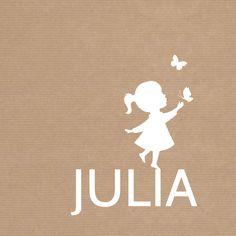 Geboorte Meisje Silhouet Vlinder, verkrijgbaar bij #kaartje2go voor € 1,79
