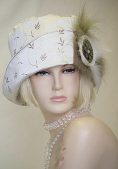 1920s VINTAGE INSPIRED IVORY CLOCHE HAT FLAPPER GREAT GATSBY DOWNTON