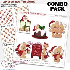 Marshmallow & Honey Bear Favorite Time of the Year COMBO Set, bundle, cu, commercial, clipart, scrap, scrapbook, cudigitals.com,