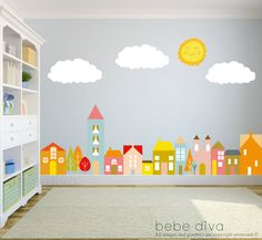 A great addition to any child's bedroom, play room, or nursery. ♥ Simply peel and stick - no fussy application ♥ Fully REMOVABLE and REUSABLE (unlike vinyl) ♥ Thin fabric wall decal – NOT pvc vinyl ♥ Leaves no residue ♥ Kid friendly, non-toxic, green, phthalates free WHAT'S INCLUDED > 3 Clouds - each 22 width x 10 height > Sun - 13 height > Homes/buildings/trees - 100 width x 32 height > Total scene as shown - 100 width x 64 height ♥ Fully REMOVABLE, REUSABLE, and REPOSITIONABLE ♥ CUSTOM…